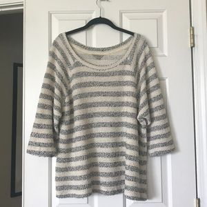 Lucky Brand Striped Boucle Terry Sweater L